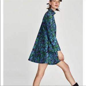Zara W/B High Neck A line Floral Dress